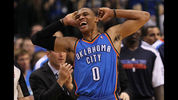 DALLAS, TX - MAY 25: Russell Westbrook #0 of the Oklahoma City Thunder reacts in the fourth quarter while taking on the Dallas Mavericks in Game Five of the Western Conference Finals during the 2011 NBA Playoffs at American Airlines Center on May 25, 2011 in Dallas, Texas. NOTE TO USER: User expressly acknowledges and agrees that, by downloading and or using this photograph, User is consenting to the terms and conditions of the Getty Images License Agreement. (Photo by Ronald Martinez/Getty Images)