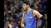 In this April 11, 2017, file photo, Oklahoma City Thunder's Enes Kanter, of Turkey, looks on during a break in the second half of an NBA basketball game against the Minnesota Timberwolves in Minneapolis. (AP Photo/Jim Mone, File)