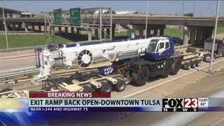 Large crane moved after being stuck on Tulsa