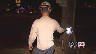 VIDEO: Man crashes into pole in east Tulsa