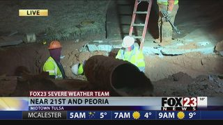 VIDEO: Work to continue overnight after midtown Tulsa water line break