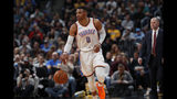 Oklahoma City Thunder guard Russell Westbrook (0) in the first half of an NBA basketball game Thursday, Feb. 1, 2018. (AP Photo/David Zalubowski)