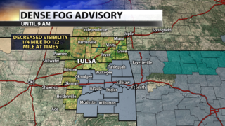 Dense fog in spots this morning