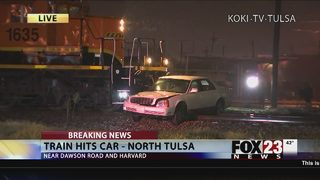 Train hits car in north Tulsa