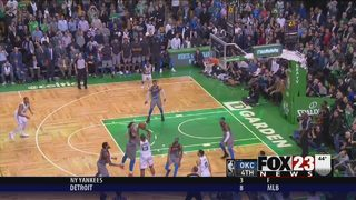 Thunder gives up late lead, Celtics win 100-99
