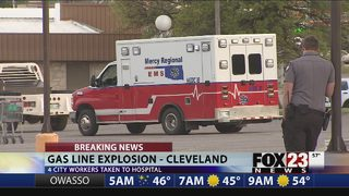 VIDEO: City utility workers taken to hospital after Cleveland gas line eruption