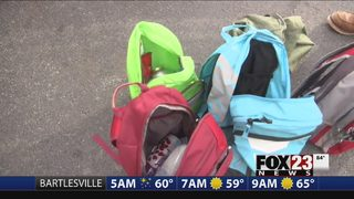 Green Country librarian collects backpacks for the homeless