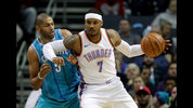 Carmelo Anthony #7 of the Oklahoma City Thunder goes to the basket against Nicolas Batum #5 of the Charlotte Hornets during their game at Spectrum Center on January 13, 2018 in Charlotte, North Carolina. (Photo by Streeter Lecka/Getty Images)