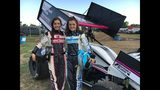 Sisters Bailey and Jaiden Hughes gear up to race at Creek County Speedway Saturday night.