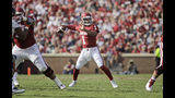 NORMAN, OK: Sooner quarterback Kyler Murray #1 looks to throw against the UTEP Miners at Gaylord Family Oklahoma Memorial Stadium on September 2, 2017 in Norman, Oklahoma. Oklahoma defeated UTEP 56-7. (Photo by Brett Deering/Getty Images)
