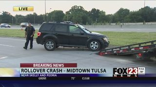 Family hospitalized after rollover crash in midtown Tulsa