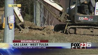 Gas line fixed after leak in west Tulsa