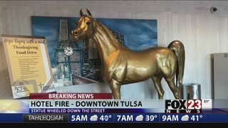 VIDEO: Horse statue saved from hotel fire