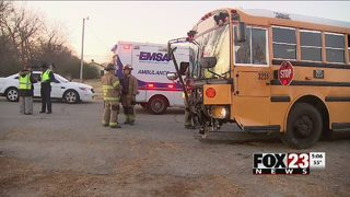 School bus involved in crash in west Tulsa