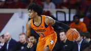 Oklahoma State guard Michael Weathers (23) during an NCAA college basketball game against Oklahoma in Norman, Okla., Saturday, Jan. 5, 2019. (AP Photo/Sue Ogrocki)