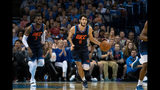 Alex Abrines #8 of the Oklahoma City Thunder brings the ball up court against the Sacramento Kings during the first half of a NBA game at the Chesapeake Energy Arena on October 21, 2018 in Oklahoma City, Oklahoma. (Photo by J Pat Carter/Getty Images)