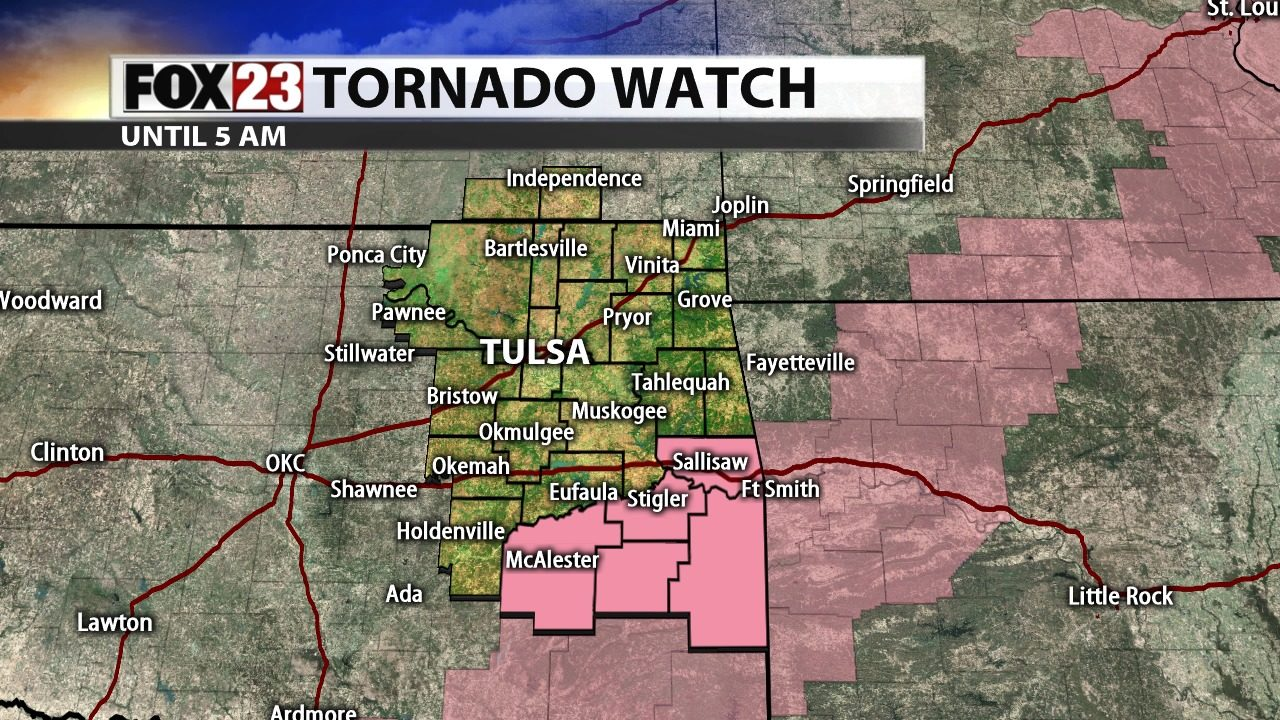 Tornado Watch issued for parts of Green Country until 5 a m