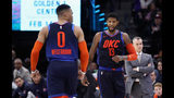 Paul George #13 of the Oklahoma City Thunder reacts with Russell Westbrook #0 after George made a basket against the Sacramento Kings at Golden 1 Center on December 19, 2018 in Sacramento, California.  (Photo by Ezra Shaw/Getty Images)