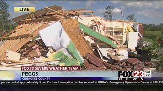 Peggs tornado preliminary rating an EF-2 by National Weather Service