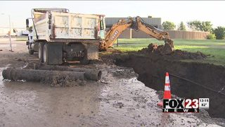 Several dozen business without water due to water line break in east Tulsa
