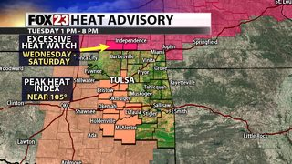 Heat index values climb back above 100° for Tuesday afternoon