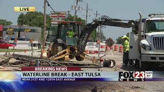 VIDEO: Businesses without water due to water line break in east Tulsa