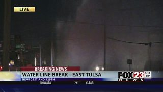 VIDEO: Water line break, power outages reported in east Tulsa