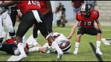 Jenks running back Will Cox scores a touchdown against Mansfield Legacy on August 29, 2019. (Brandon Wade/Tulsa World)